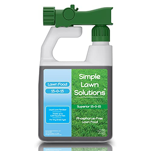 Superior Nitrogen & Potash 15-0-15 NPK- Lawn Food Quality Liquid Fertilizer - Concentrated Spray- Any Grass Type- Simple Lawn Solutions Green, Grow & Turf Hardiness- Phosphorus-Free (32 Ounce)