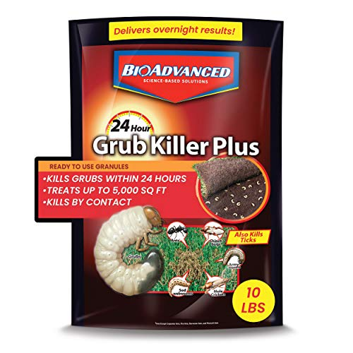 BioAdvanced 700740M 24-Hour Grub Plus for Lawns Ant, Tick, and Insect Killer, 5,000 sqft, Ready-to-Spread Granules, Standard Bag