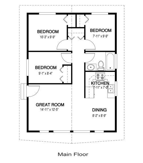 Vintage 3 Bedrooms Tiny House floor plan