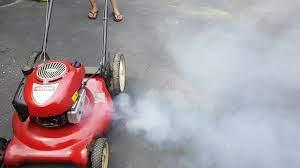 Mower engine blow smoke